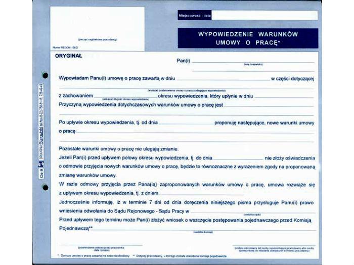 Druk Samokopiujący Wypowiedzenie Warunków Umowy O Pracę 23 A4
