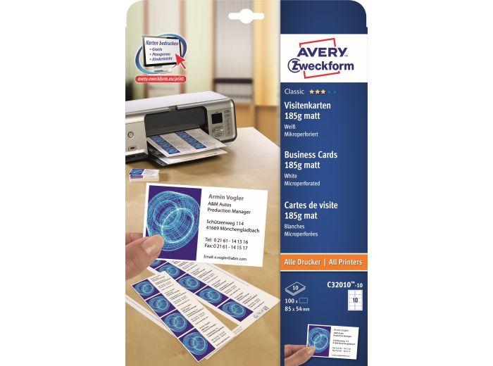 Papier Arkusze Na Wizytówki 85x54 Avery Zweckform 10 Szt