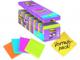 karteczki samoprzylepne 3M Post-it 654-SS-VP24COL 76x76 mm, Super Stick, 24x90 kartek