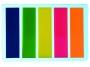 44185000 - zakładki indeksujące samoprzylepne D.rect foliowe -PET, 45x12 mm, 009354, 5 kolorów neonowych, 5x25 szt.