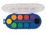 5836610 - farby akwarelowe 10 kolorów wodne Primo CMP Morocolor Jumbo, w pastylkach o śr.44 mm, zestaw + pędzelek w pudełku plastikowym