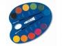 5836612 - farby akwarelowe 12 kolorów wodne Primo CMP Morocolor Jumbo, w pastylkach o śr.44 mm, zestaw + 2 pędzelki + tubka białej farby akwarelowe 7,5 ml, opakowanie w formie paletki do mieszania kolorów