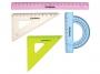7150002 - zestaw geometryczny mały Donau linijka +2 ekierki +kątomierz, kolorowy