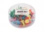 731057 - pinezki do tablic korkowych, kolorowe beczułki D.rect mix kolorów, 50 szt./op.