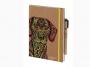 R003922 - kalendarz książkowy A5 Antra Kraft Pies 2021 r., tydzień na stronie, z gumką zamykającą, oprawa miękka