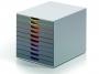 d761027 - pojemnik na dokumenty, czasopisma / sorter biurkowy Durable Varicolor z 10 szufladami