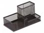 kf16572 - przybornik na biurko Q-Connect 3 komory, metalowy, ażurowy, czarny