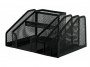 kf16573 - przybornik na biurko Q-Connect 2 komory, metalowy, ażurowy, czarny