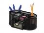 kf18472 - przybornik na biurko Q-Connect metalowy, ażurowy, czarny, z szufladką