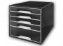 l5253__ - pojemnik na dokumenty, czasopisma / sorter biurkowy Leitz Black and White, z 5 szufladami