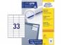 z3421p - etykiety samoprzylepne uniwersalne białe Avery Zweckform 3421 papierowe 70x25,4 mm, ark. A4 3x11, 100 ark./op.