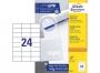 z3474p - etykiety samoprzylepne uniwersalne białe Avery Zweckform 3474 papierowe 70x37 mm, ark. A4 3x8, 100 ark./op.
