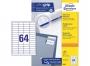 z3667p - etykiety samoprzylepne uniwersalne białe Avery Zweckform 3667 papierowe 48,5x16,9 mm, ark. A4 4x16, 100 ark./op.