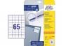z6121p - etykiety samoprzylepne uniwersalne białe Avery Zweckform 6121 papierowe 38x21,2 mm, ark. A4 5x13, 25+5 ark./op.