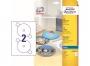 z9660 - etykiety na płyty CD / DVD samoprzylepne białe błyszczące Avery Zweckform 9660 śr. 117 mm, ark. A4 1x2, 25 ark./op.