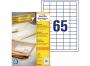 zr3666p - etykiety samoprzylepne uniwersalne białe recyklingowe Avery Zweckform 3666 papierowe 38x21,2 mm, ark. A4 5x13, 100 ark./op.